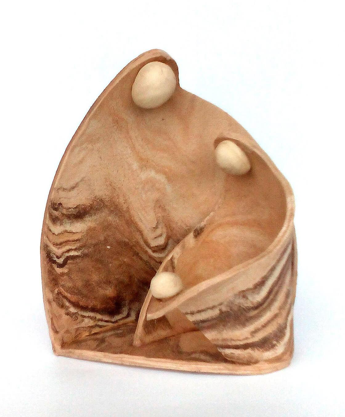 Keramický adventní svícen s ježíškem v jesličkách na čajovou svíčku z ateliéru Vlaďky Zborníkové