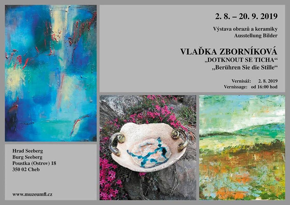 Plakát výstavy obrazů a keramiky Vlaďky Zborníkové na hradě Seeberg 2019
