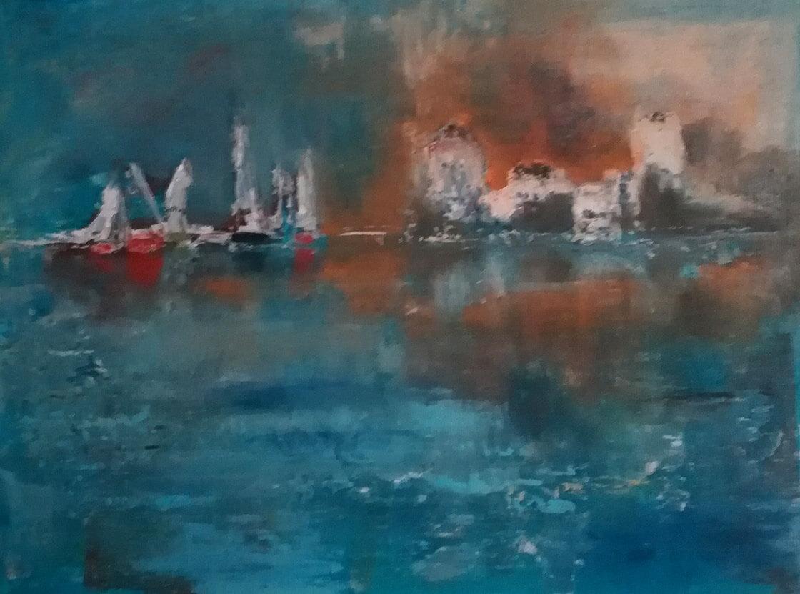 Obraz Večerní přístav namalovaný Vlaďkou Zborníkovou