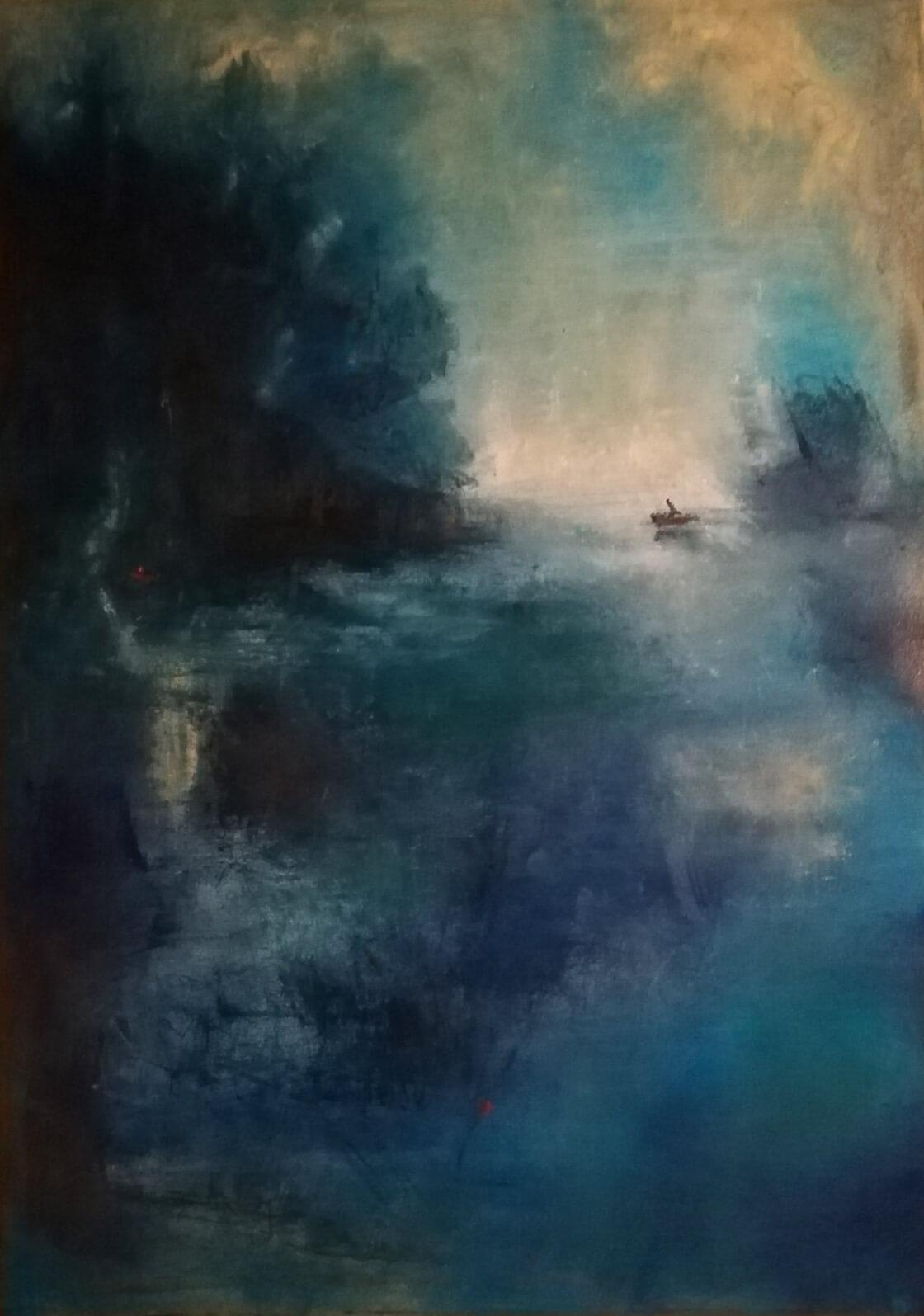 Obraz Samota na vodě namalovaný Vlaďkou Zborníkovou