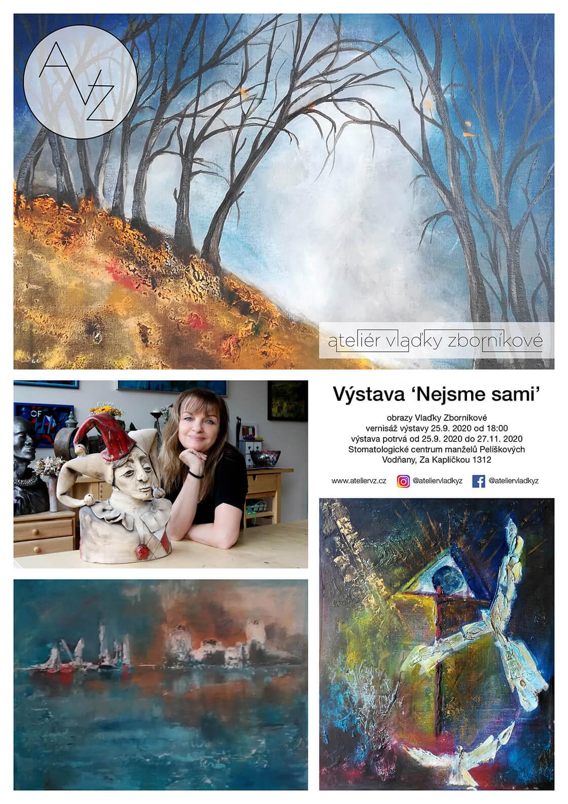 pozvánka na vernisáž a výstavu obrazů Vlaďky Zborníkové ve Vodňanech 2020