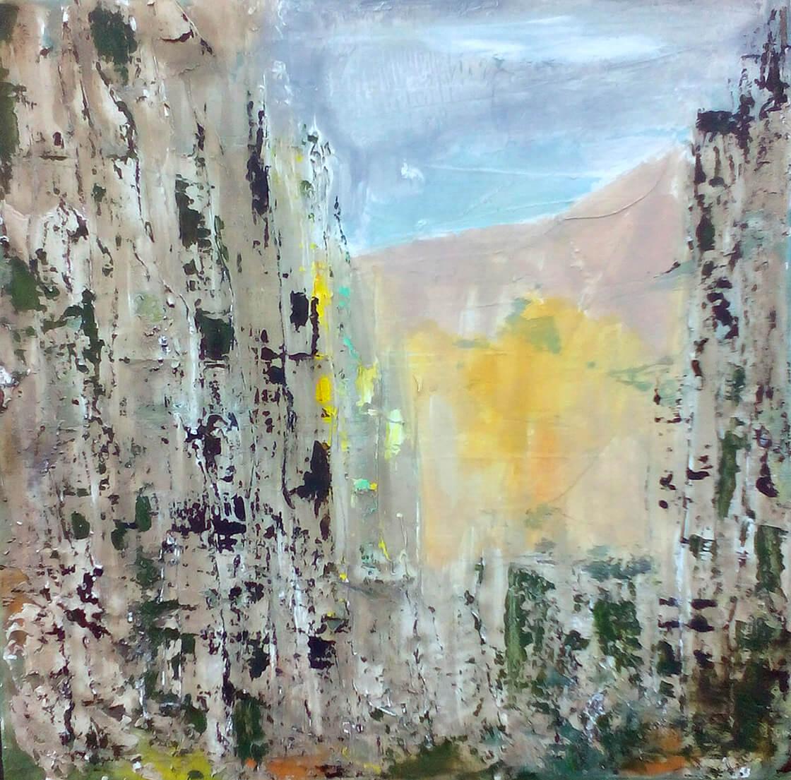 Obraz Ve skalách namalovaný Vlaďkou Zborníkovou, kombinovaná technika
