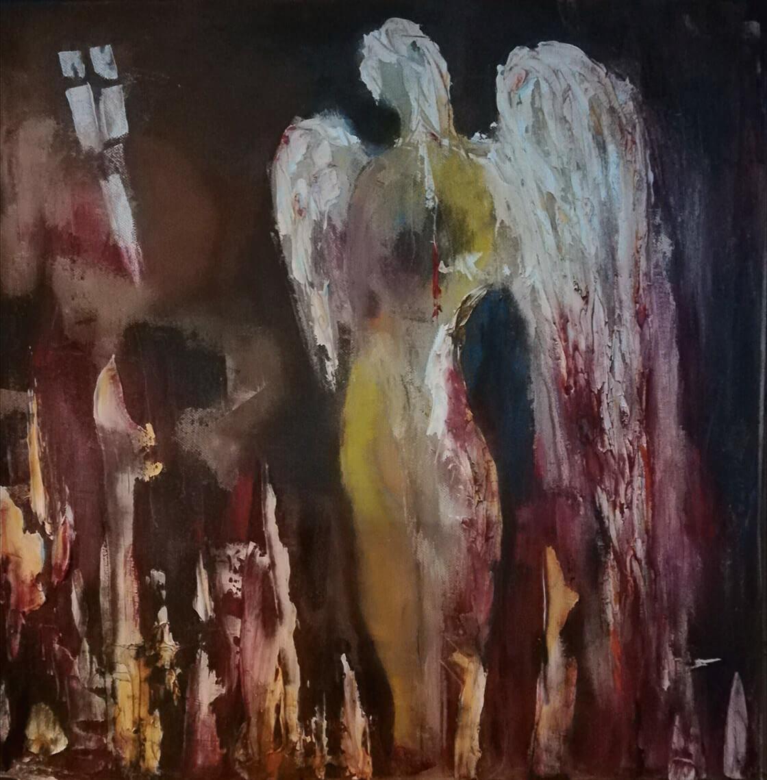 Obraz Ten, který ztratil světlo namalovaný Vlaďkou Zborníkovou, kombinovaná technika